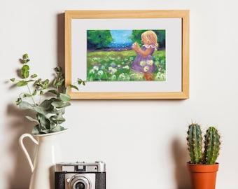 Summer Wishes ~ Girl in dandelion field