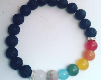Chakra Stretch Bracelet, Energy Bracelet, Healing Bracelet With Natural Lava Stones, essential oil, diffuser