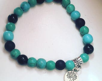 Blue and turquoise magnesite and black onyx genuine gemstone stretch bracelet tree of life