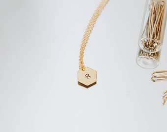 Dainty Initial Necklace • Gold Hexagon Necklace • Geometric • Bridesmaid Gift Idea • Necklace • Custom • Jewelry • Monogram • Personalized