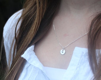Silver Inital Necklace / Bridesmaid Gift Idea / Custom Handstamped Initial on Sterling Silver Chain / For her / Monogram / Best Friend / Mom
