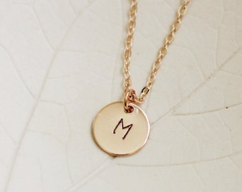 Rose Gold Initial Necklace / Bridesmaid Gift Idea / Monogram Jewelry / Custom Initial / Personalized Necklace / Hand Stamped / Letter / Gold