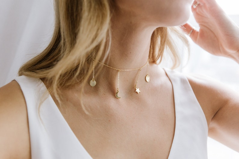 Gold Choker Necklace Star Statement Moon Celestial Hanging Choker Space Dainty Galaxy Inspired Minimal Moon Phases