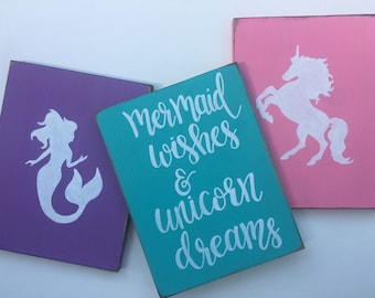 Mermaid decor, Mermaid wishes and unicorn dreams, mermaid bedroom decor, unicorn bedroom decor, unicorn decor