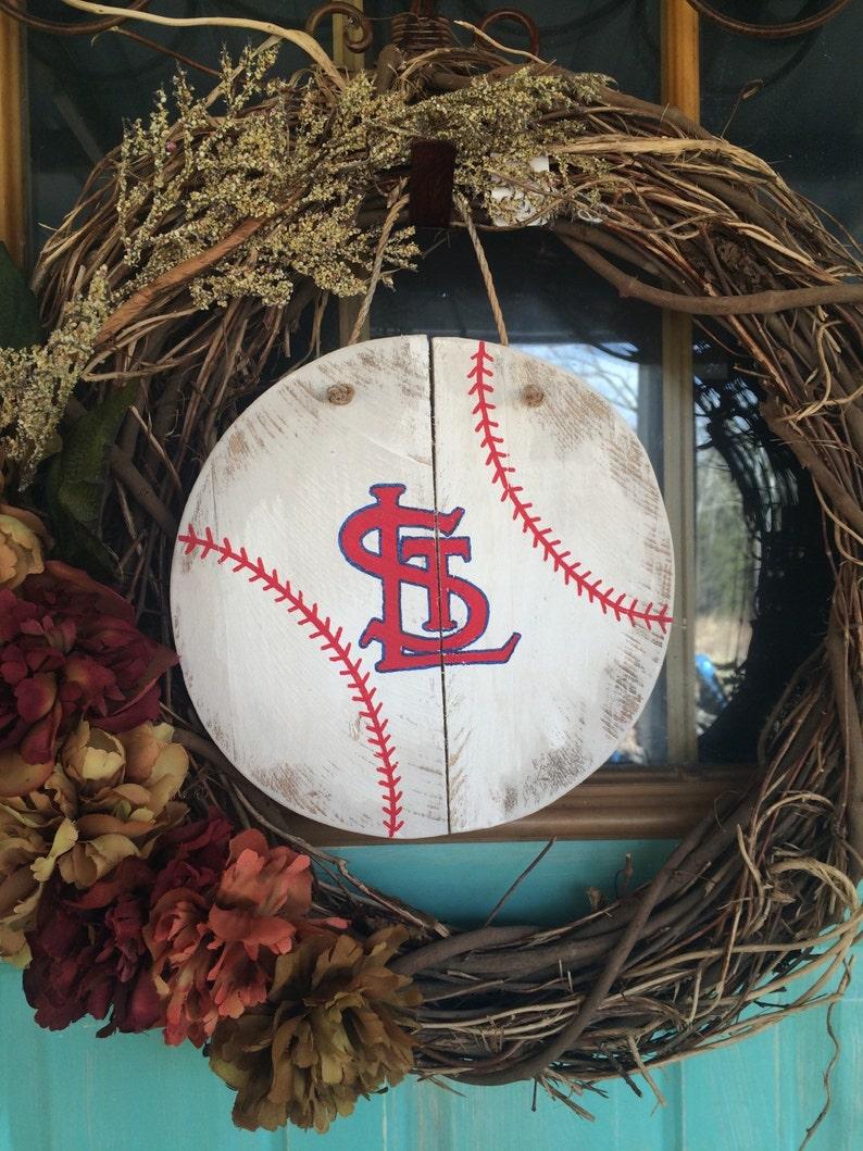 Wooden baseball decor Louis cardinals door decor baseball wall decor St