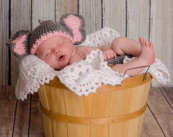 Baby Girl Elephant Hat and Diaper Cover, Newborn Pink Elephant Outfit, Crochet Elephant Outfit, Elephant Baby Shower gift, Elephant Nursery