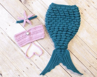 Baby Mermaid Outfit | Baby Mermaid Tail | Baby Mermaid Costume | Newborn Photo Prop | Baby Mermaid Costume | New Mom Gift | Baby Shower Gift