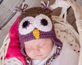 Crochet Owl Hat | Baby Owl Costume | Newborn Photography Prop | Owl Photo Prop | Owl Baby Shower | Owl Nursery | New Mom Gift
