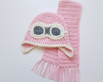 8ad510b8c63d Instant Download Crochet Newborn Aviator Hat Goggles and