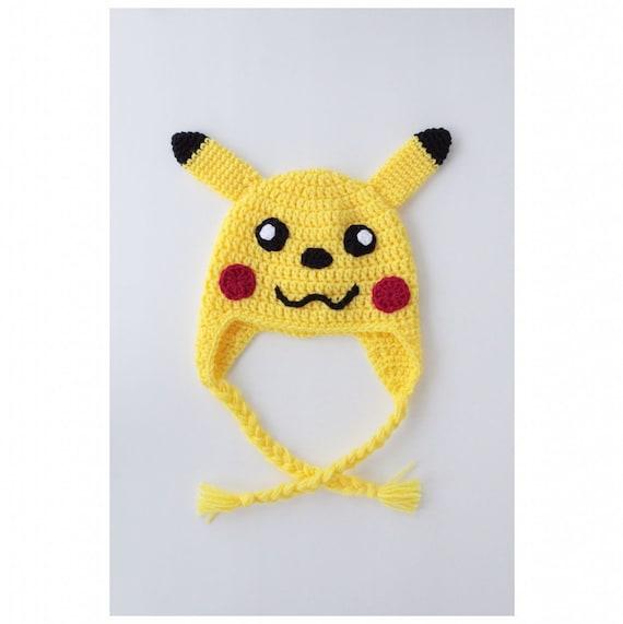 Handarbeit Häkeln Pikachu Beanie Mütze Mit Geflochtenen Etsy