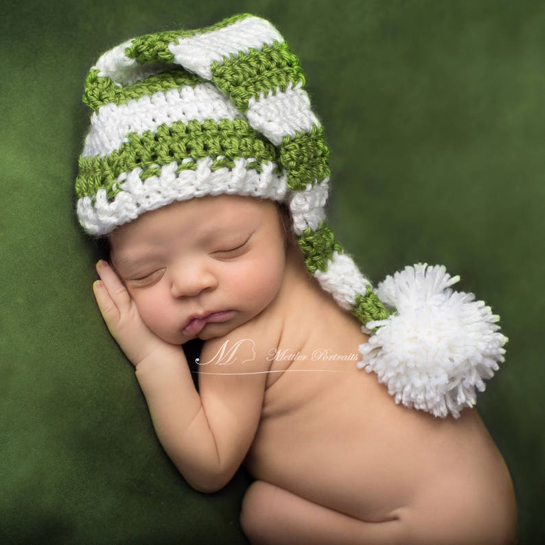 Twins Baby Boy Crochet Holiday Hats Baby Girl Knitted Newborn Photo Prop Christmas Hat for Baby Christmas Elf Striped Hat