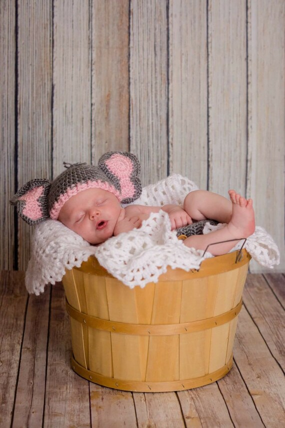 b5a6f9a74f0 Baby Girl Elephant Hat and Diaper Cover Newborn Pink Elephant