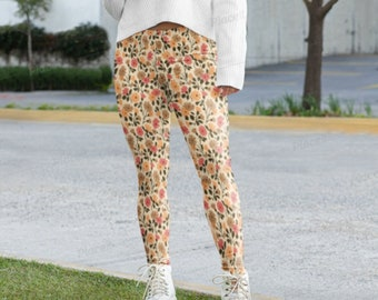 ETSY Floral Cheetah Inspired Print Leggings Fall Winter 2021 Fashion