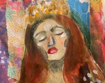 ETSY Queen Esther Collage Print, Shabbos, Shabbat, Jewish Art, Portrait, Torah, Woman Mixed Media Painting by Art of Cassie Clark