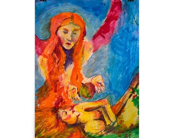 ETSY Jewish Judaica Feminist Art, Lilith Tempting Eve, Oil Painting Print by Cassie Clark