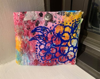 ETSY Slow Fashion Recycled Packaging Eco Friendly Plastic Hand Painted Clutch Purse