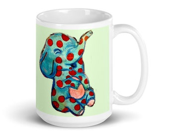 ETSY Spotted Elephant Christmas Holiday Gift Mug, Misfit Toys Elephant, Lucky Symbol Cup Blue Green Pink Red by Art of Cassie Clark