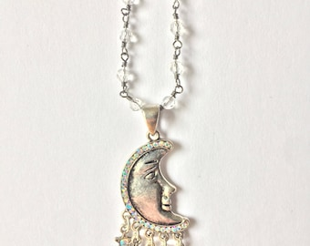 Moon Pendant with Beaded Chain