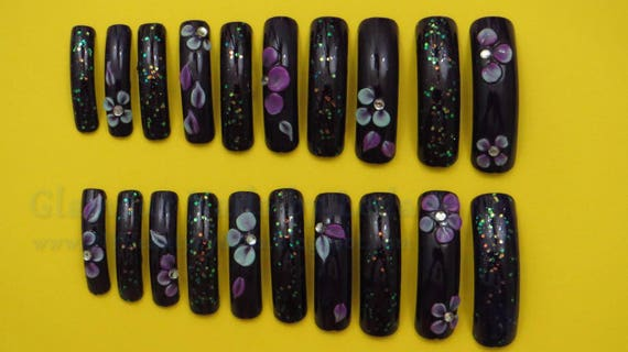 20 Full Well Extra Long Square Nails Sweet Plum 3D Nail Art