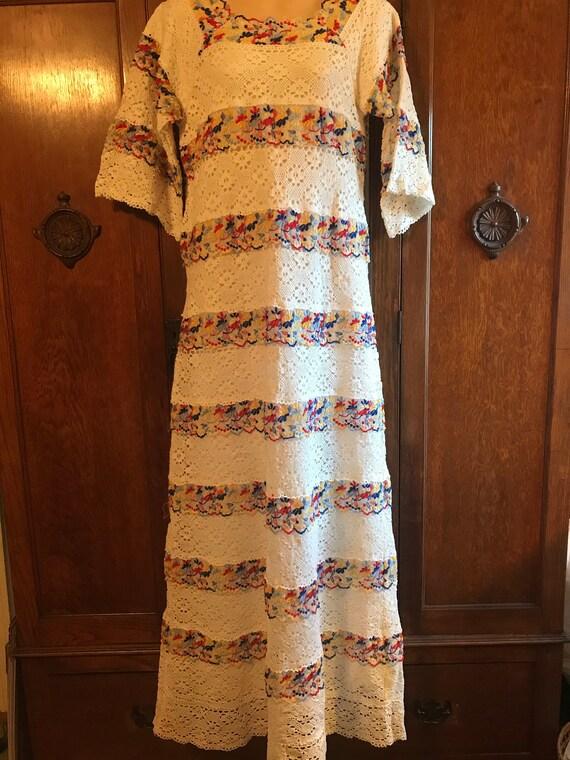 1970s Lace Floral Hippie Dress