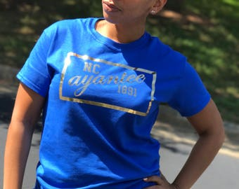 NC ayantee 1891 Shirts. Royal Blue and Metallic Gold Shirts. GHOE. NCAT. Aggie Pride. Homecoming Shirts