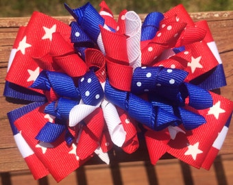 Red White & Blue Stars and Stripes Patriotic hairbow. 3 options. Korker or stacked. Memorial Day 4th of July, Independence Day, USA hairbow