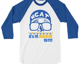 "NCATSU ""Do the Aggie Thing"" or  ""Its An Aggie Thang"" Unisex Baseball Tee. NCA&T Baseball Shirt. Aggie Pride."