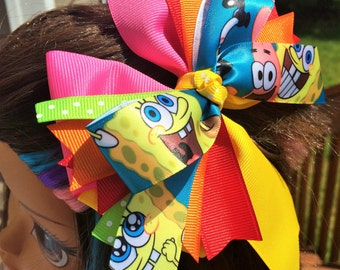 """5"""" SpongeBob Square Pants Stacked Hair Bow. Spongbob and Patrick pink and yellow Boutique Stacked hairbow. Colorful Spongebob Hairbow"""
