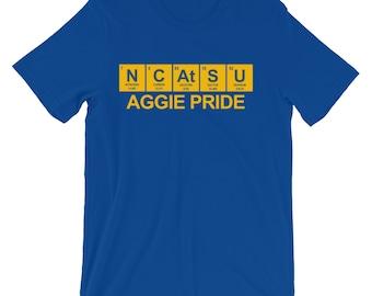 NCATSU Aggie Pride Periodic Table Shirt. Blue and Gold Shirt. Black and White Shirt. Nerdy Aggie Shirt.