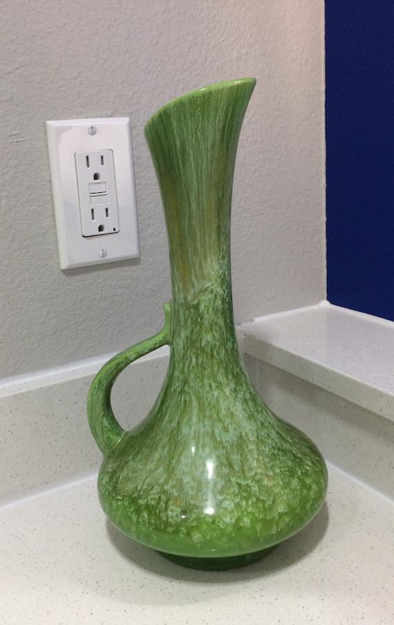 Vintage Vase Green Glazed Ewer Vase Made In Usa By Haeger Etsy