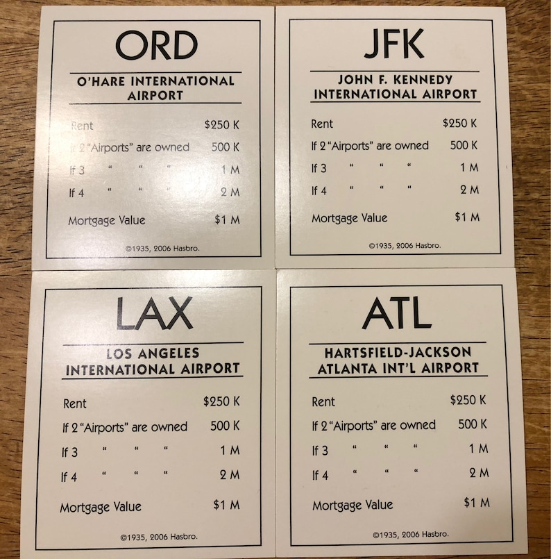 2006 MONOPOLY HERE AND NOW EDITION Part AIRPORT TITLE DEED CARDS LAX JFK ORD ATL