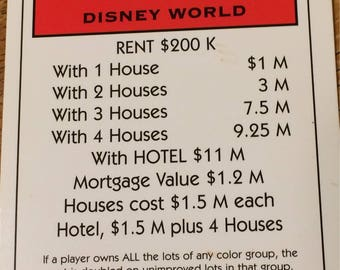 Disney World Monopoly Property Deed from Electronic Banking Monopoly Game for the Disney Collector