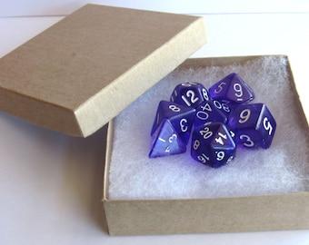 D&D Dice Set Magnets -- Transparent Purple