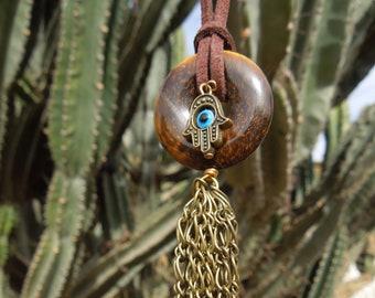 Hamsa Hand necklace Tigereye donut and multi gemstone