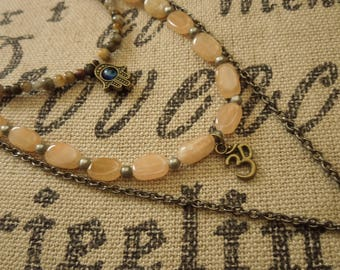 Hamsa-OM-Endless knot Necklace