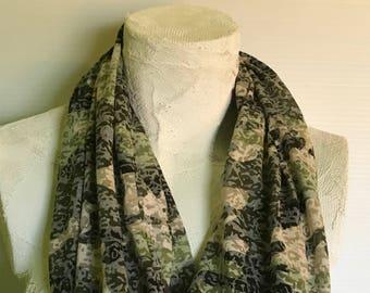 Infinity Scarf -Camo Scarf - Camouflage Infinity Scarf - Skinny Infinity Scarf - Camo Burnout Scarf