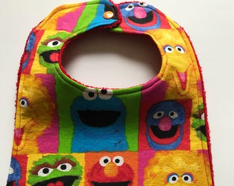 Sesame Street Bib - Toddler Bib - Drool Bib - Custom Bibs - Cotton Baby Bib - Baby Shower Gift