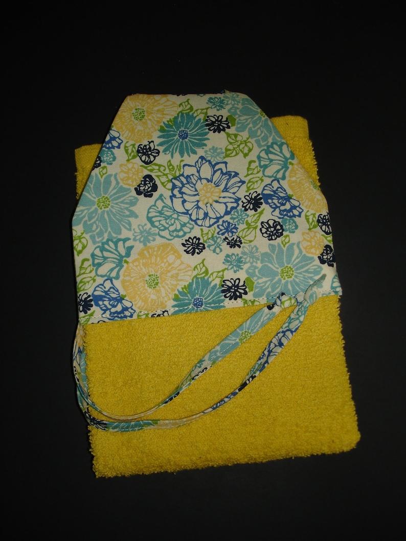 Hanging Kitchen Towel - Yellow Kitchen Towel - Floral Kitchen Tie Towel -  Hanging Kitchen Tie Towel - Oven Door Towel - Yellow Hanging Towel