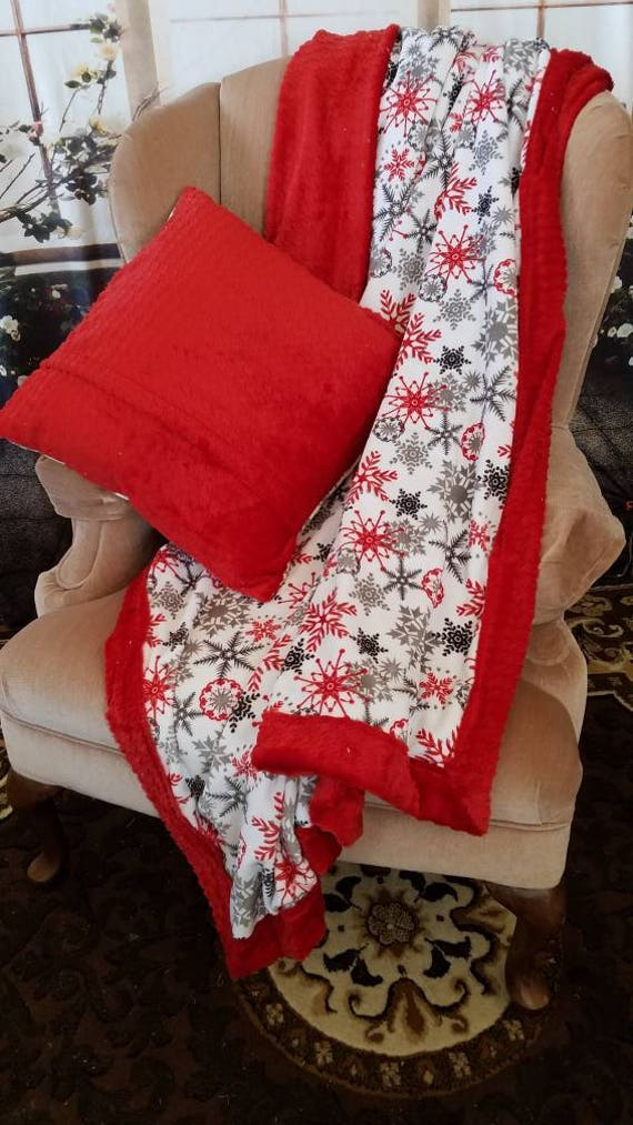 Best Adult Blanket, Christmas Baby Blanket, Red Crib Blanket, White Minky Blanket, Security Blanket, Stroller Blanket, Baby Shower Gift by Etsy