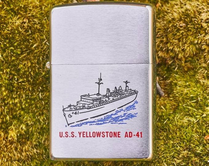 Zippo lighter USS Yellowstone AD-41 unfired with safety sticker
