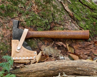 Plumb Hatchet on original handle with custom leather sheath