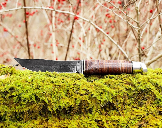 West Cut Fixed Blade Knife with handmade leather sheath