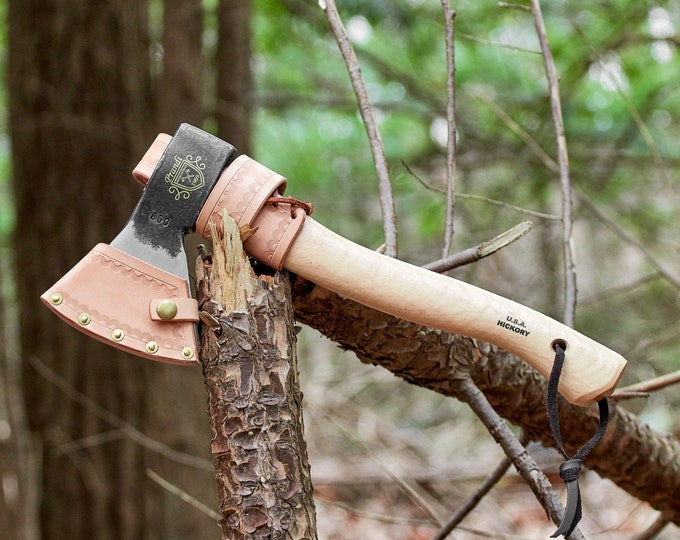 Prandi Hatchet with Custom Handmade Leather Hatchet Sheath Overstrike guard and Hatchet Belt Loop