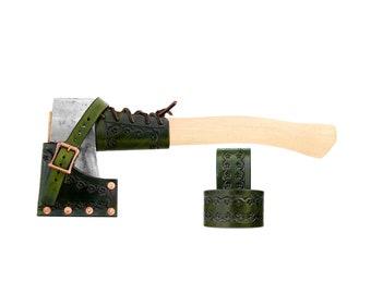 WW II Hatchet with Custom Leather Sheath Belt Hanger and Overstrike Guard