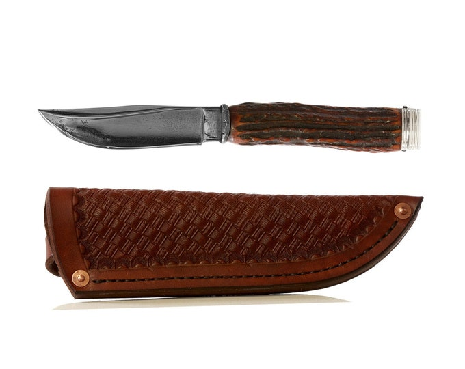 Vintage Fixed Blade Knife with Handmade leather sheath