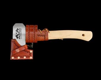 Prandi Hatchet with Custom Leather Sheath overstrike guard and Belt Hanger