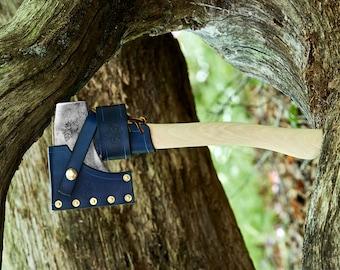 Vintage Boy Scout Hatchet with leather sheath leather overstrike guard leather belt hanger