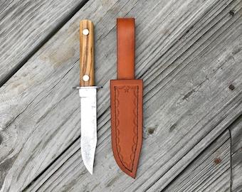 Vintage Fixed Blade Knife with custom Leather Sheath