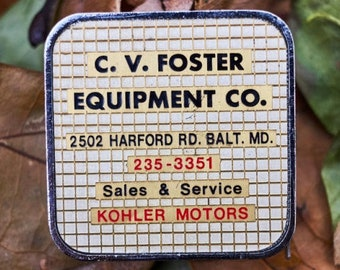 Vintage CV Foster Equipment Co 6 ft tape measure made by Barlow