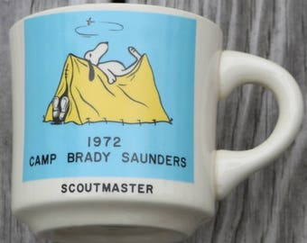 Boy Scouts Camp Brady Saunders 1972 Scoutmaster mug with Snoopy